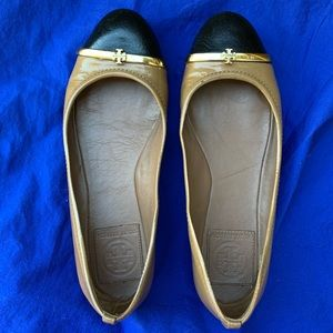 Tory Burch Sz 5 Pacey Leather Black Tan Shoes Flat